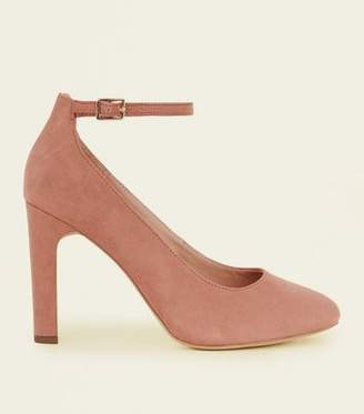 e42e90dcbcae New Look Wide Fit Pink Suedette Ankle Strap Courts