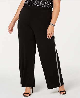 NY Collection Plus Size Metallic-Stripe Pants, Plus Size & Petite Plus Size