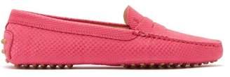 Tod's Gomini Crocodile Effect Suede Loafers - Womens - Fuchsia