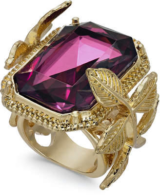 INC International Concepts I.n.c. Gold-Tone Leaf & Stone Square Statement Ring, Created for Macy's