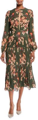 Johanna Ortiz Counter Culture Blouson-Sleeve Floral-Print Silk Georgette Midi Dress w/ Pleated Skirt