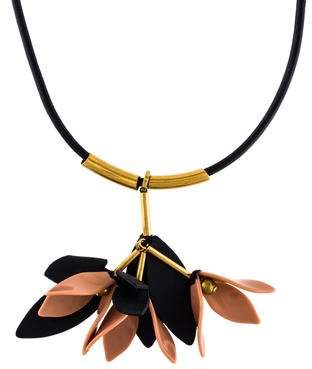 Marni Resin & Leather Floral Pendant Necklace