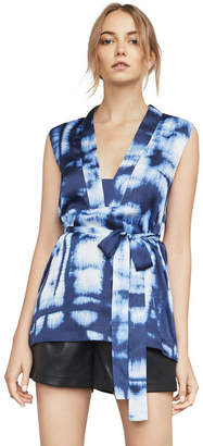 BCBGMAXAZRIA Catrin Waist-Tie Print Top