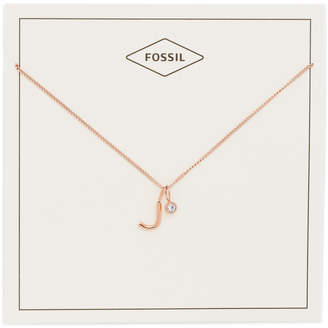 Fossil Letter J Rose Gold-Tone Stainless Steel Necklace