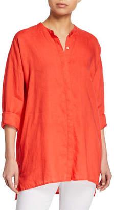 Eileen Fisher Band-Collar Button-Down Long-Sleeve Handkerchief Linen Shirt