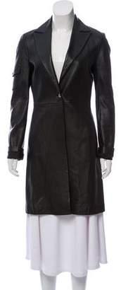 Versace Peak-Lapel Leather Knee-Length Coat