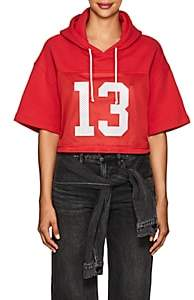 ADAPTATION / BORN X RAISED Women's Cotton Crop Hooded Football Jersey-Red