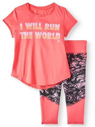 Gaiam Lotus Graphic Tee And Capri Legging, 2-Piece Active Set (Big Girls)