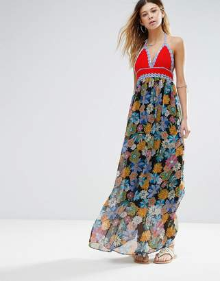 Glamorous Printed Maxi Dress With Crochet Top