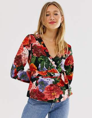 Monki floral wrap blazer