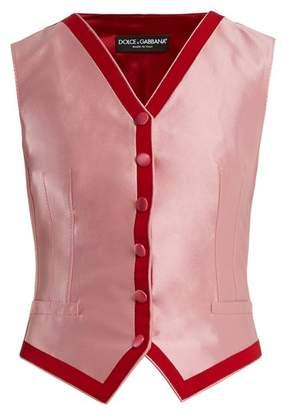 Dolce & Gabbana Contrast Trim Satin Waistcoat - Womens - Pink Multi