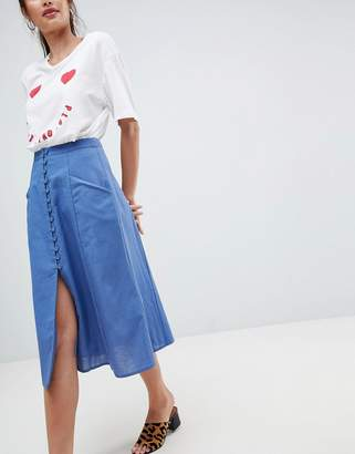 Asos DESIGN full midi skirt with button front