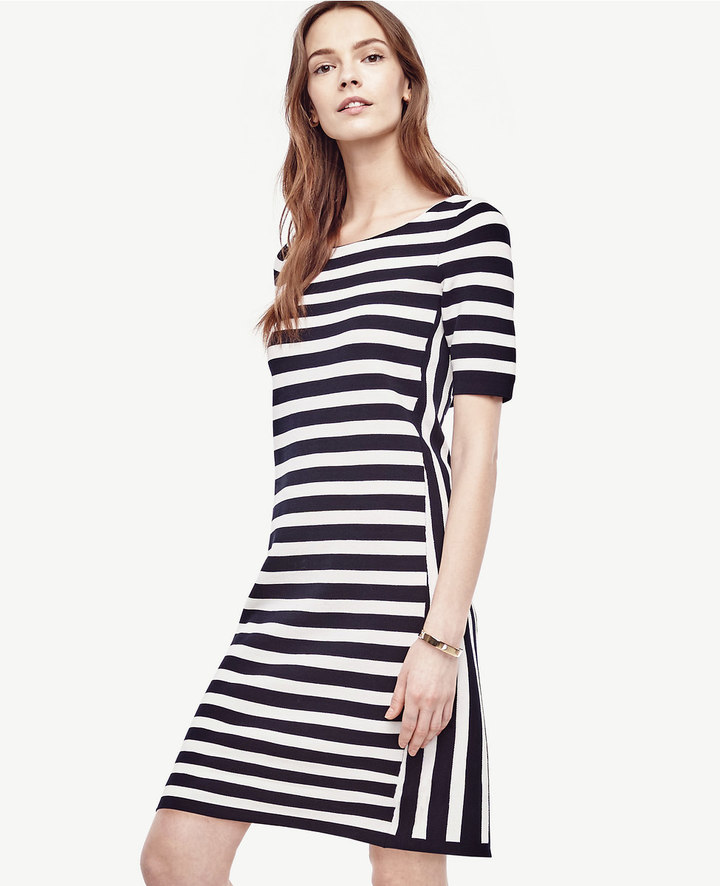 Ann Taylor Petite Striped Bow Back Sweater Dress