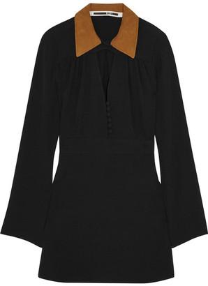 McQ Alexander McQueen - Faux Suede-trimmed Crepe Mini Dress - Black $495 thestylecure.com