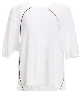 Brunello Cucinelli Women's Linen & Silk Monili and Paillette Knit Sweater