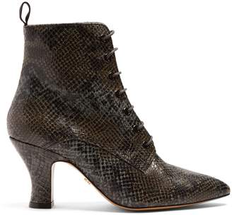 ALEXACHUNG Victorian snakeskin-effect leather lace-up boots