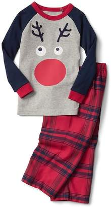 Gap Reindeer plaid flannel PJ set