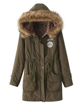 Z&I Womens Zip Up Snap Cotton Coat Winter Jacket Thick Warm Parka Outwear with Fur Hood, XL