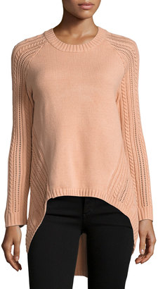 Elliatt Landforms Woven-Knit Sweater, Light Pink $99 thestylecure.com