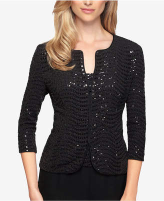 Alex Evenings Petite Sequined Jacket & Top