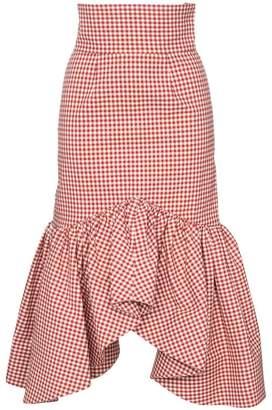 Shushu/Tong ruffle trim gingham pencil skirt