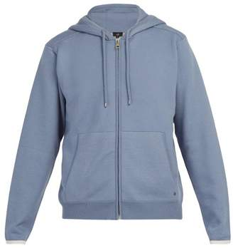 Dunhill Hooded Cotton And Cashmere Blend Zip Sweatshirt - Mens - Blue