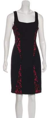 Black Halo Lace-Accented Knee-Length Dress