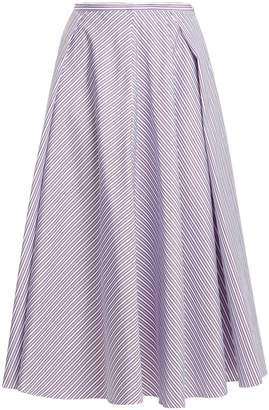 Rochas Striped cotton midi skirt