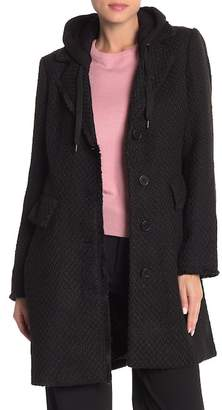 BCBGeneration Textured Detachable Hood Coat