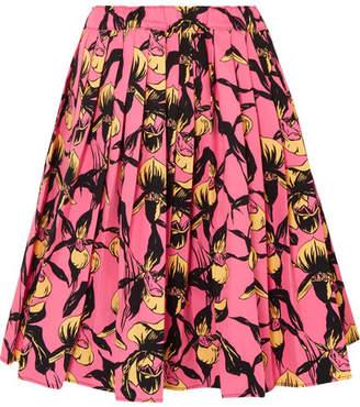 Prada Pleated Floral-print Cotton-canvas Skirt