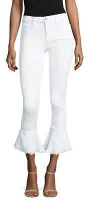 Frame Flounce Hem White Denim Skinny Jeans