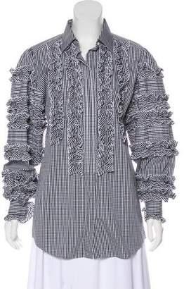 Dolce & Gabbana Silk Gingham Button-Up