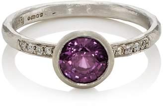 Malcolm Betts Women's Purple Sapphire & White Diamond Ring