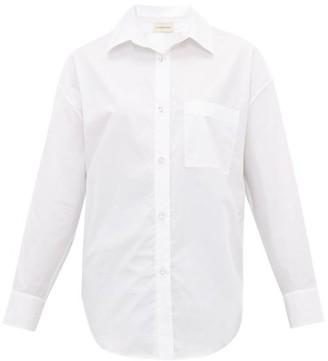 Alexandre Vauthier Crystal Button Cotton Poplin Shirt - Womens - White