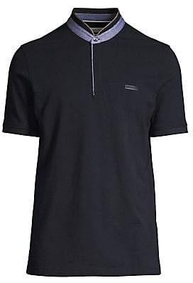 Bugatti Men's Stand Up Henley Collar Polo Shirt