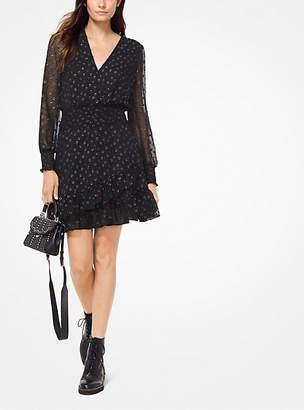 Michael Kors Dot Jacquard Ruffled Dress