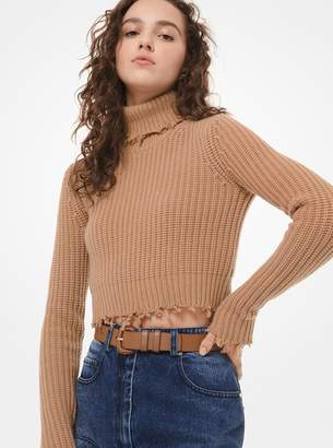 Michael Kors Hand-Frayed Cashmere Cropped Turtleneck Sweater