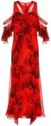 Alexander McQueen Printed silk crepe maxi dress