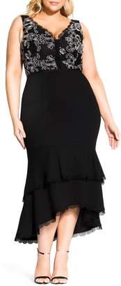 City Chic Sweet Occasion High/Low Hem Midi Dress