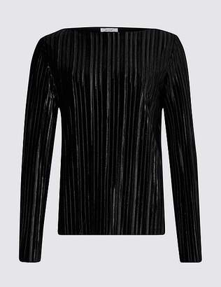 Marks and Spencer Striped Slash Neck Long Sleeve Top