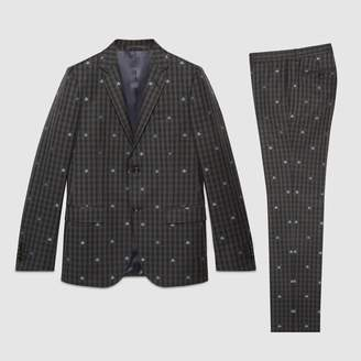 Gucci Monaco bees wool check suit