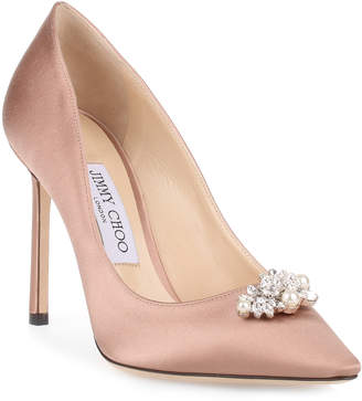 Jimmy Choo Alexa 100 ballet pink satin crystal pump
