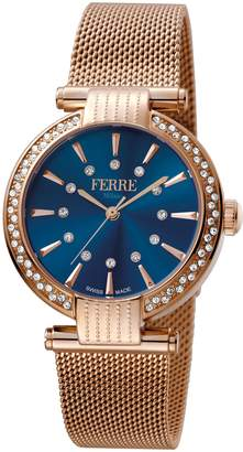 Ferré Milano Women's FM1L096M0091 Dark Blue Dial With Rose Gold Mesh Stainless-Steel Band Watch.