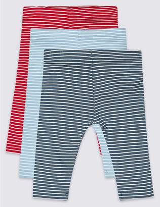 Marks and Spencer 3 Pack Striped Cotton Leggings with Stretch