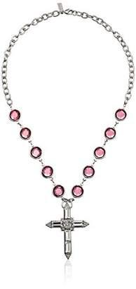 Swarovski 1928 Jewelry Silver-Tone Purple Genuine Crystal Cross Pendant Necklace