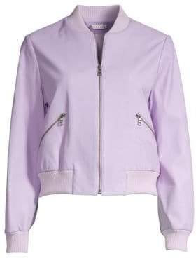 Alice + Olivia Demia Leather Cropped Bomber Jacket