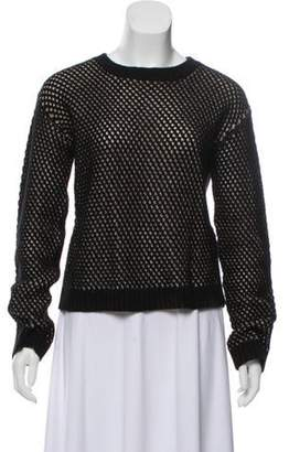 Sally LaPointe Silk and Cashmere-Blend Crew Neck Sweater Black Silk and Cashmere-Blend Crew Neck Sweater