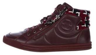 Chanel CC Chain-Link High-Top Sneakers