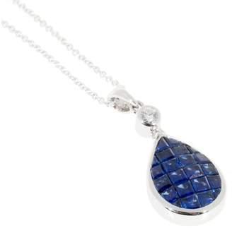 18K White Gold with 1.86ct Bright Sapphire & Diamond Vintage Pendant Necklace