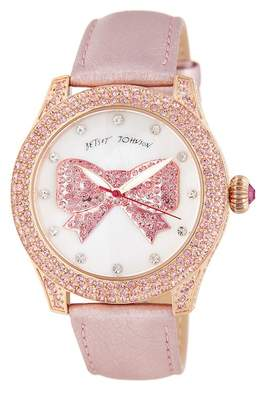 Betsey Johnson Women's Bowtastic Crystal Leather Watch, 41.5mm